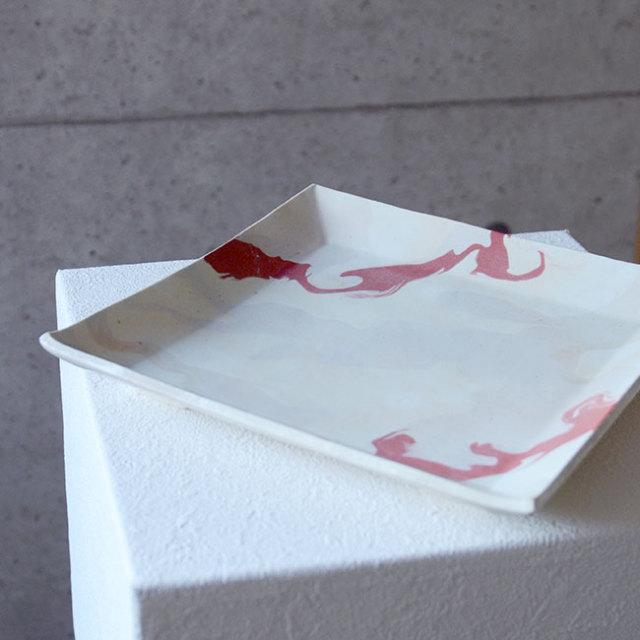 和食器 彩墨流足付角皿 作家「瀬津純司」
