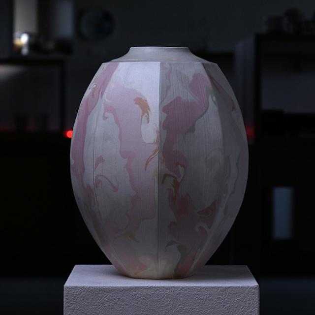 【共箱付】彩墨流花器(JS-626) 作家「瀬津純司」