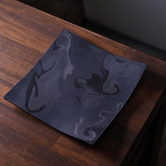 彩墨流足付板皿-21cm-(JS-657) 作家「瀬津純司」
