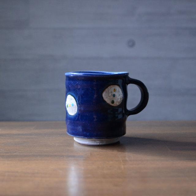 瑠璃釉銀彩マグカップ 作家「荒木漢一」