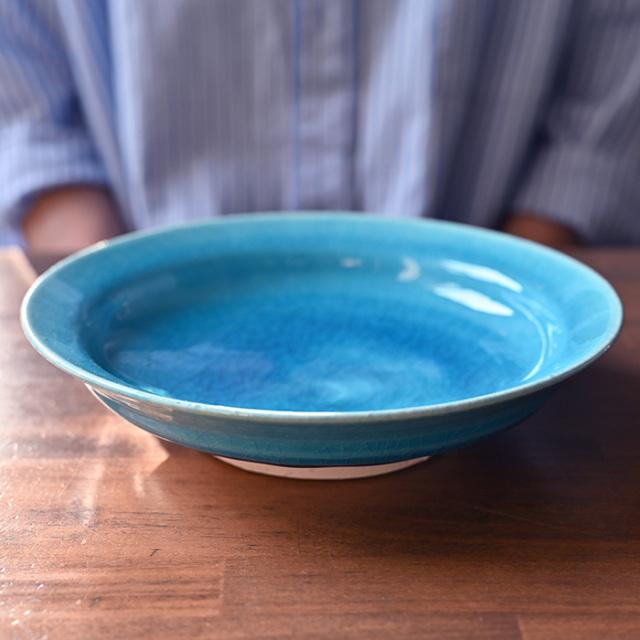 トルコブルー七寸深皿-21cm-