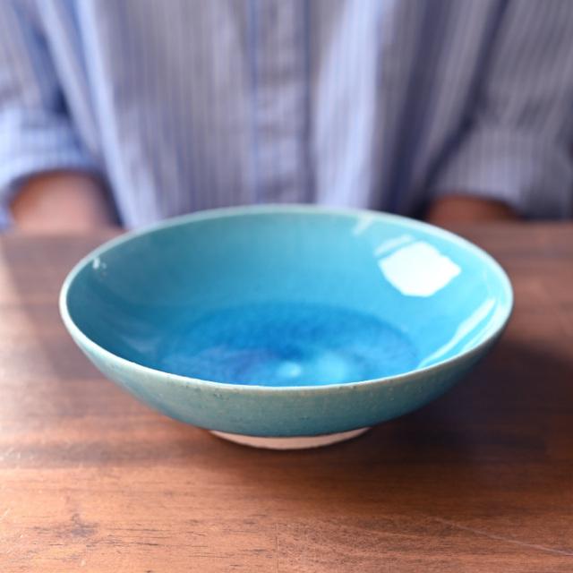 トルコブルー六寸深皿-18cm-