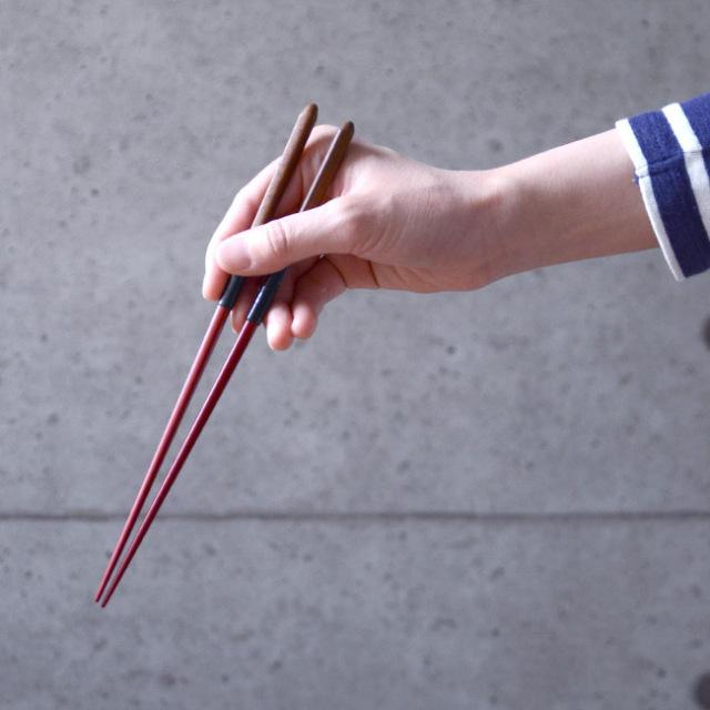 紐の漆箸(赤) 作家「野口健」