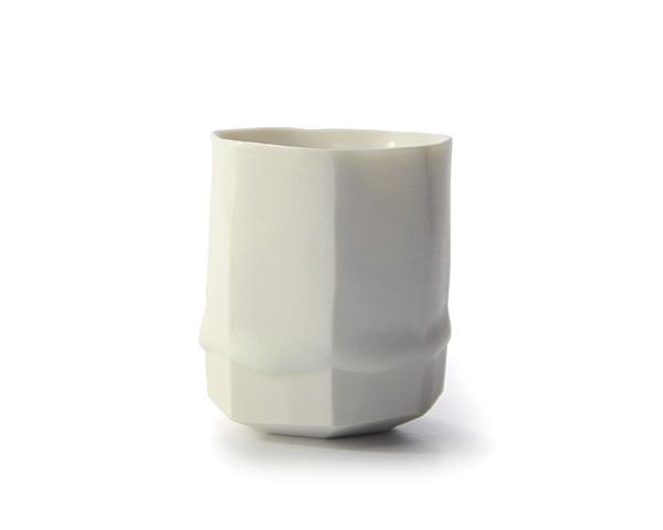 和食器 白磁面取ぐい呑 作家「竹内紘三」