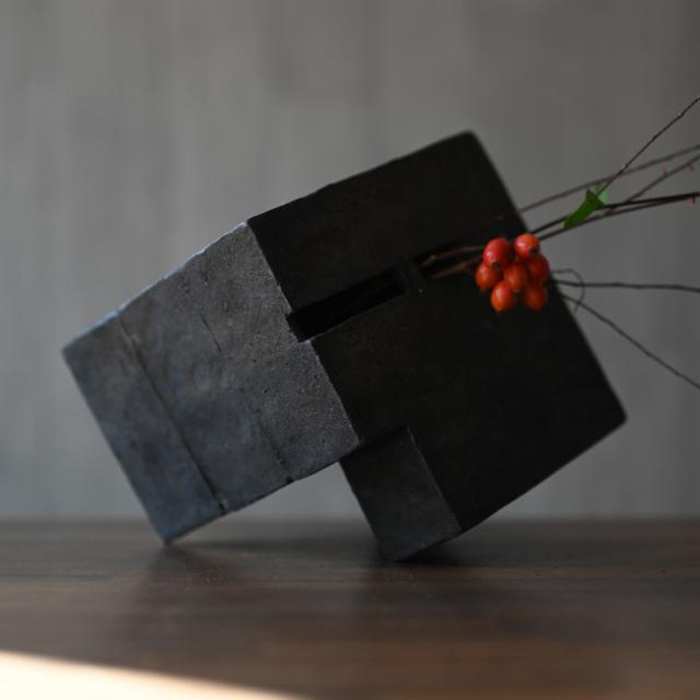 黒土花器(KT-189) 作家「竹内紘三」
