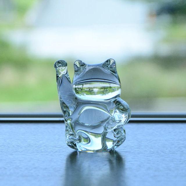ガラスオブジェ まねき猫  作家「原光弘」