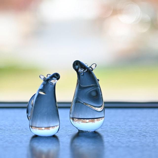 2020年 干支ガラス 子(ねずみ)の親子 作家「原光弘」