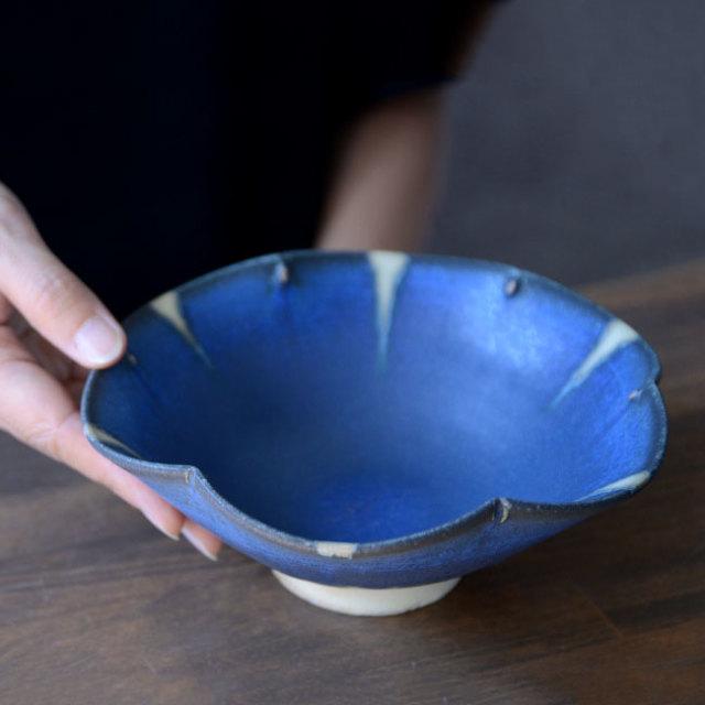和食器 碧釉輪花鉢  作家「山本雅彦」