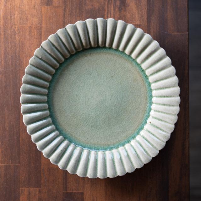 和食器 森緑釉輪花大皿-26cm-(MY-051) 作家「山本雅彦」