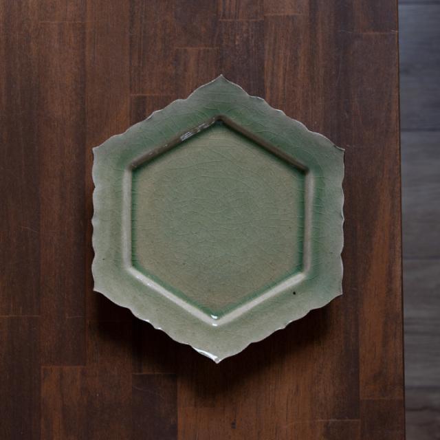 和食器 森緑釉六角皿-22cm-(MY-055) 作家「山本雅彦」