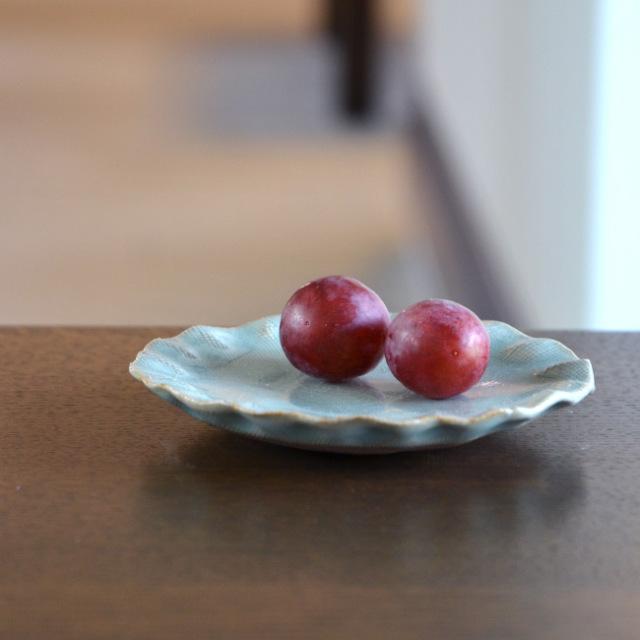 和食器 青磁たたらカヤ目銘々皿 作家「林隆一郎」