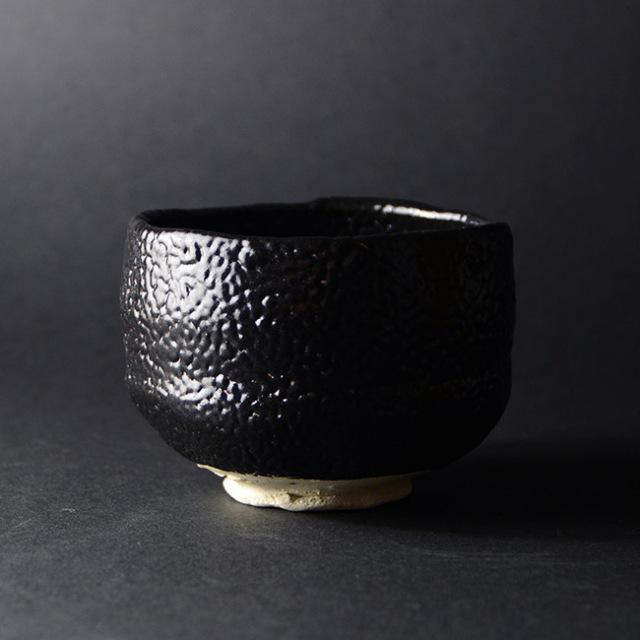織部黒茶碗(共箱付) 作家「林隆一郎」