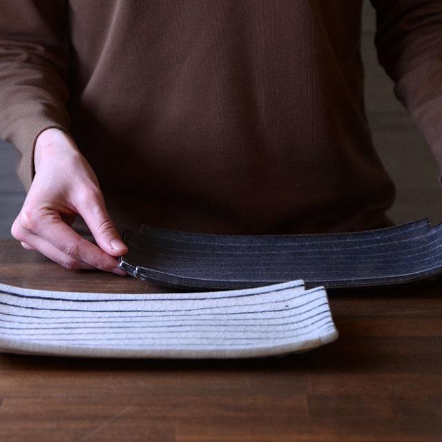 和食器 お試しセット 長石釉・鼠志野線文十字長皿セット 作家「佐々木好正」