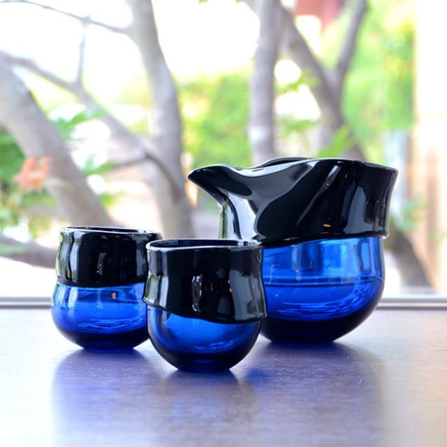 """ガラス DOMAKI """"""""Blue"""""""" 酒器揃 作家「飯田将平」"""