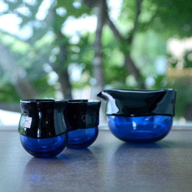 """ガラス DOMAKI """"""""Blue"""""""" 酒器揃no.4 作家「飯田将平」"""