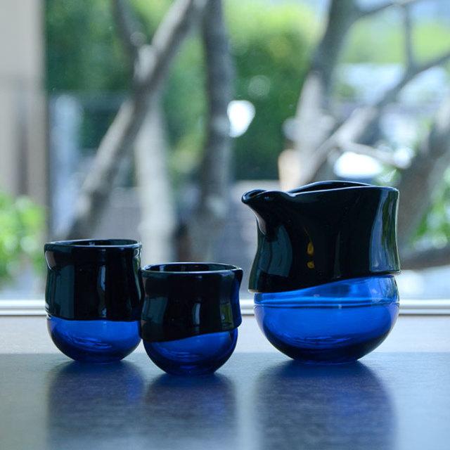 """ガラス DOMAKI """"""""Blue"""""""" 酒器揃no.5 作家「飯田将平」"""