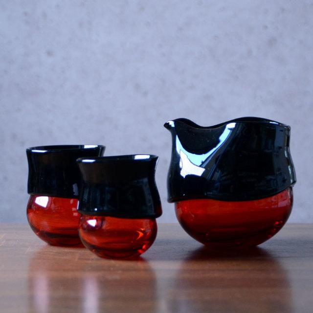 """ガラス DOMAKI """"""""Red"""""""" 酒器揃no.3 作家「飯田将平」"""