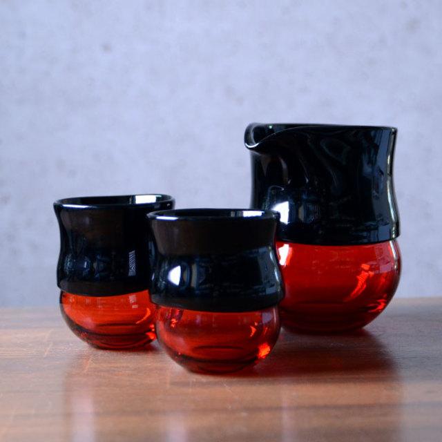 """ガラス DOMAKI """"""""Red"""""""" 酒器揃no.4 作家「飯田将平」"""