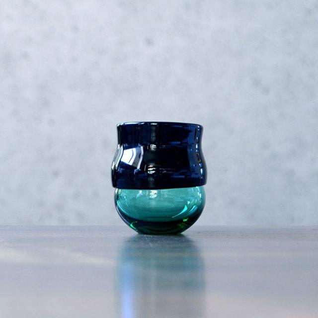 """ガラス DOMAKI """"Green"""" ぐい呑(SI-039) 作家「飯田将平」"""