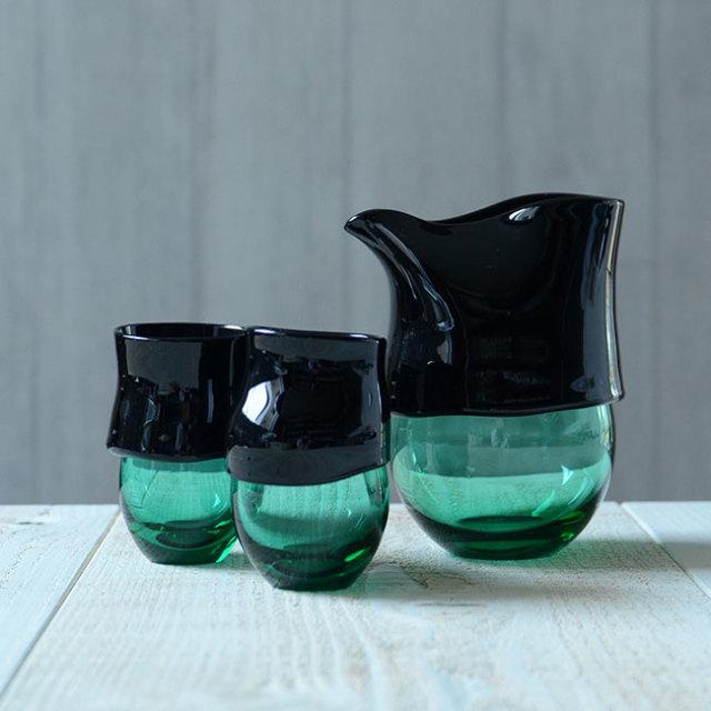 """ガラス DOMAKI """"""""Green"""""""" 酒器揃"""