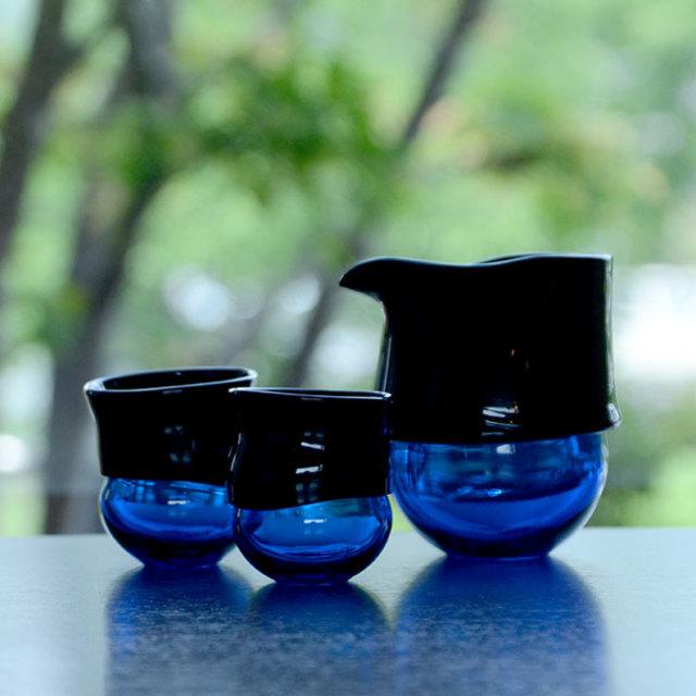 """ガラス DOMAKI """"Blue"""" 酒器揃(SI-058) 作家「飯田将平」"""