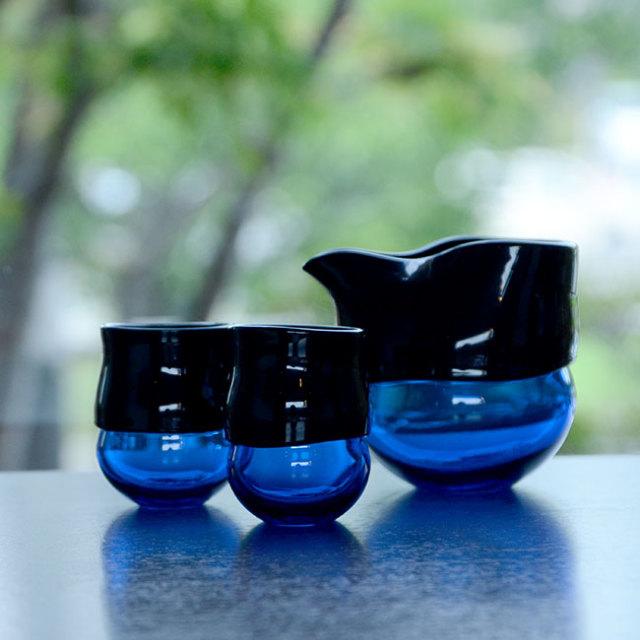 """ガラス DOMAKI """"Blue"""" 酒器揃(SI-059) 作家「飯田将平」"""