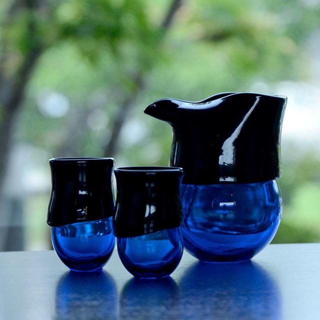"""ガラス DOMAKI """"Blue"""" 酒器揃(SI-060) 作家「飯田将平」"""