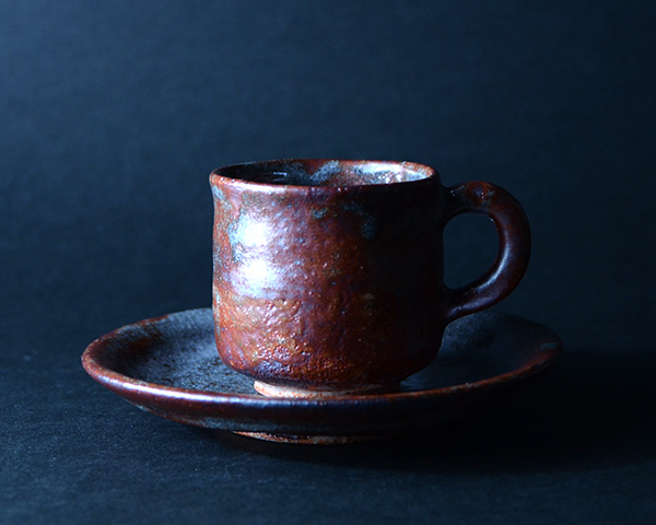 鼠志野コーヒーカップ&ソーサ 作家「林健人」