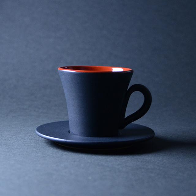 和食器 黒釉赤彩コーヒーカップ 作家「森野知子」