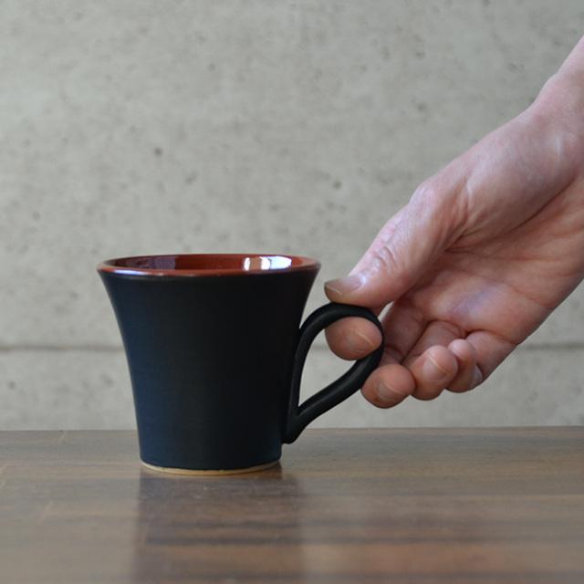 和食器 黒釉赤彩マグカップ 作家「森野知子」