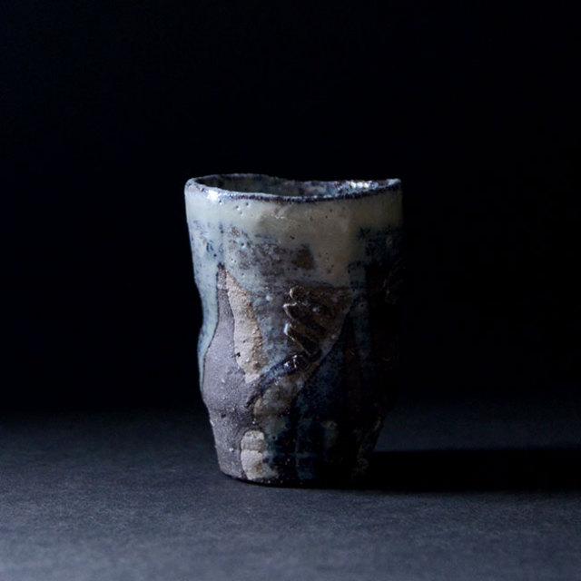 灰釉筒ぐい呑 no.9(共箱付) 作家「木村貴史」