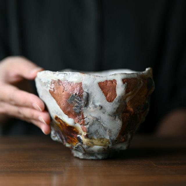 【共箱付】白釉茶碗(TMK-055) 作家「木村貴史」
