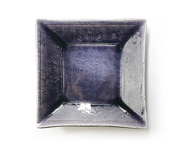 和食器 紫明釉彫角鉢 作家「荒木義隆」