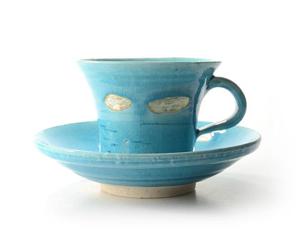 和食器 トルコブルー銀彩切立コーヒーC&S 作家「荒木義隆」