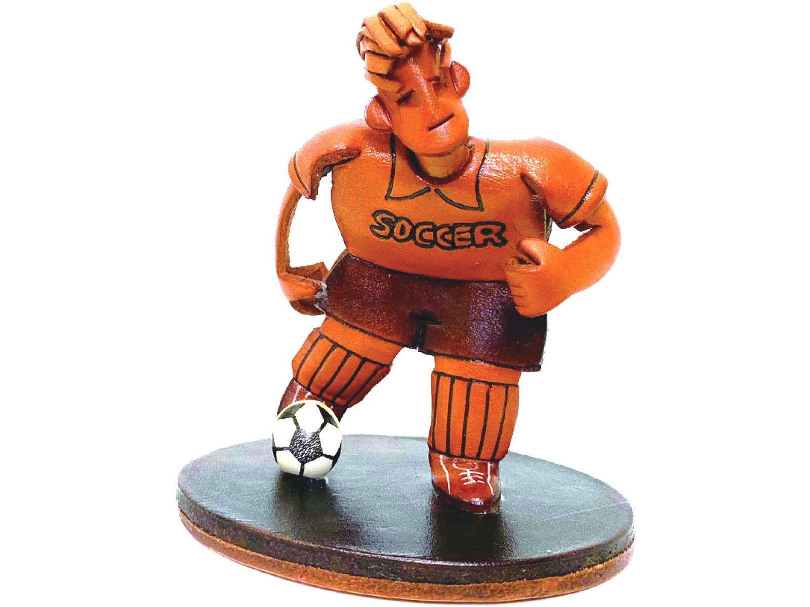 本革製フィギュア サッカープレーヤー