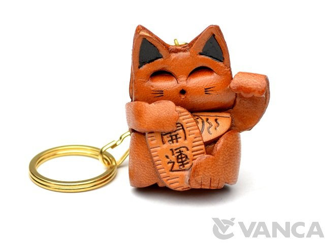 VANCA 本革レザーキーホルダー招き猫