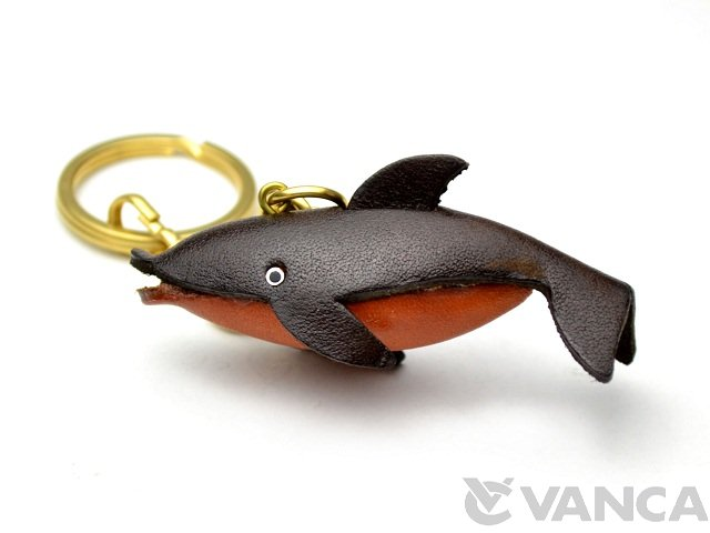 VANCA 本革レザーキーホルダー イルカ