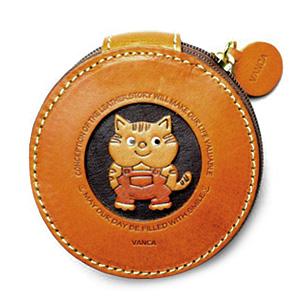 VANCA(バンカクラフト)革物語  本革ファスナーコインケース ねこ