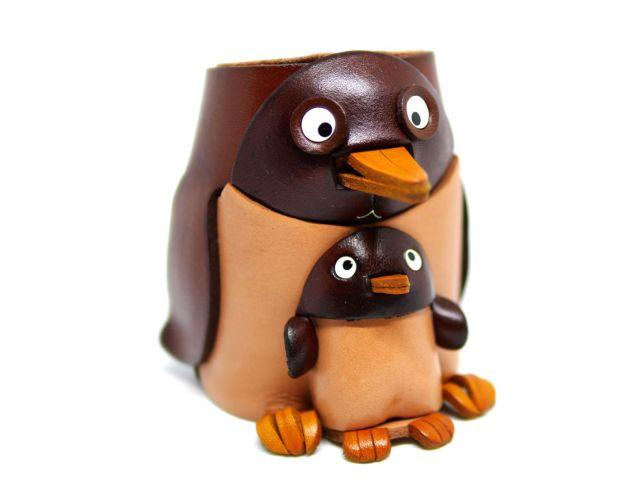 VANCA 本革製メガネ小物スタンド ペンギン