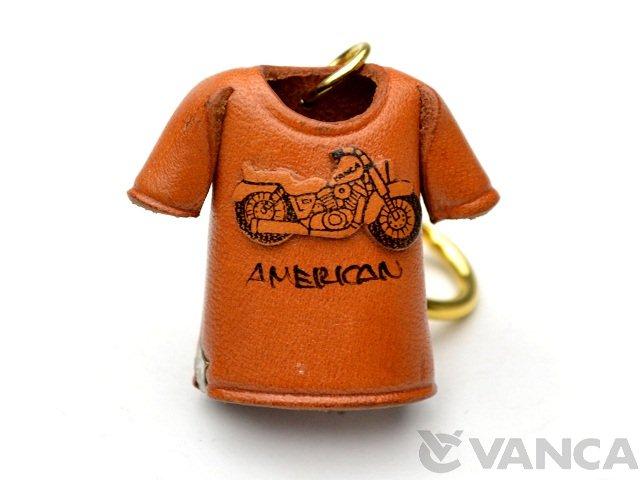 VANCA 本革レザーキーホルダー Tシャツ アメリカンバイク