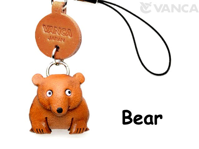 VANCA本革レザー動物携帯ストラップ くま