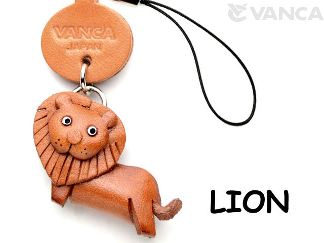 VANCA本革レザー動物携帯ストラップ ライオン