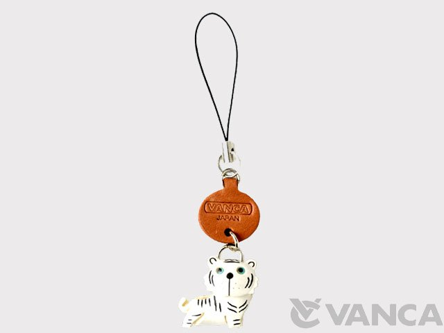 VANCA 本革携帯ストラップ プチ動物 ホワイトタイガー