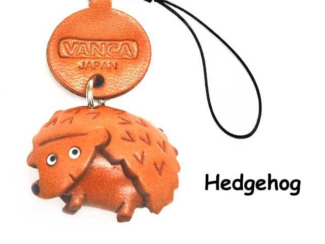 VANCA本革レザー動物携帯ストラップ はりねずみ