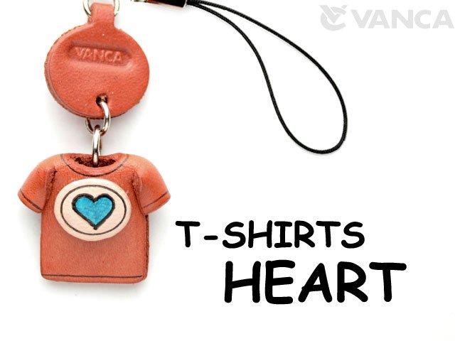 本革レザーTシャツ携帯ストラップ青 HEART