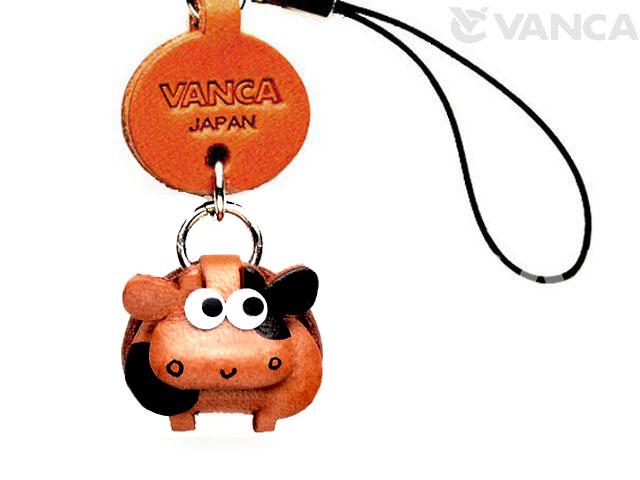VANCA本革レザー干支マスコット携帯ストラップ 丑