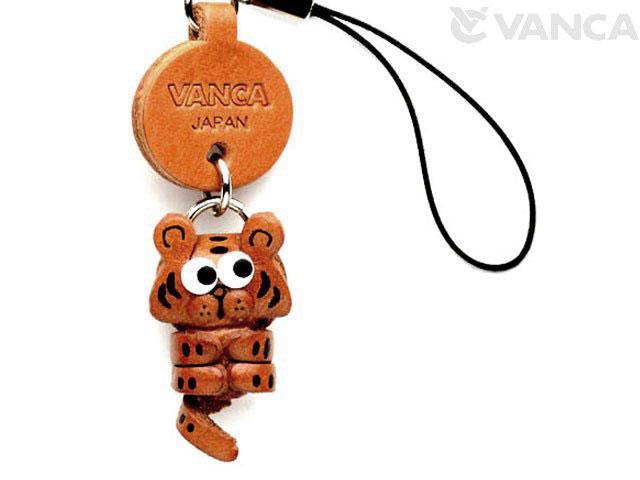 VANCA本革レザー干支マスコット携帯ストラップ 寅