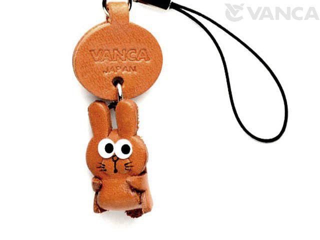 VANCA本革レザー干支マスコット携帯ストラップ 卯