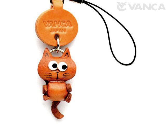 VANCA本革レザー干支マスコット携帯ストラップ ねこ