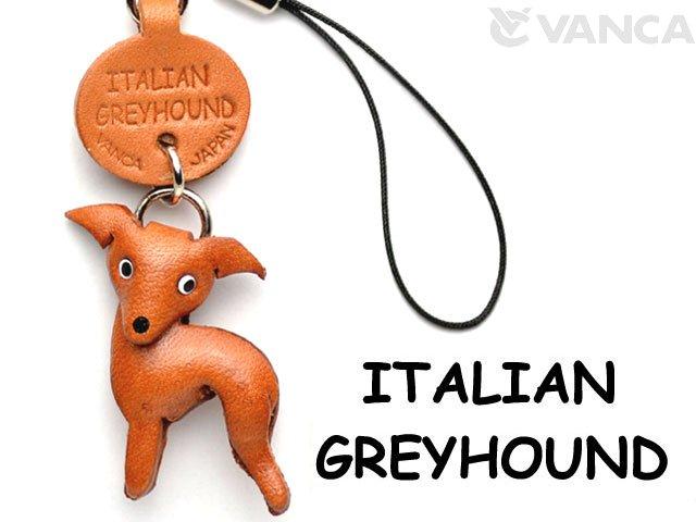 VANCA本革犬携帯ストラップ イタリアングレーハウンド